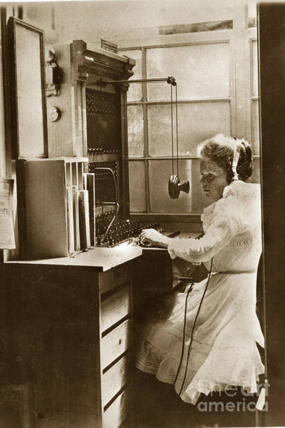 Photograph - A Young Winnifred Tuttle Works The Telephone Exchange Pacific Grove Circa 1905 by California Views Archives Mr Pat Hathaway Archives