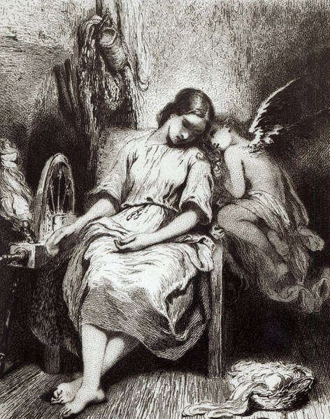 Angle Drawing - A Young Woman Dozing With An Angel by Charles Nodier