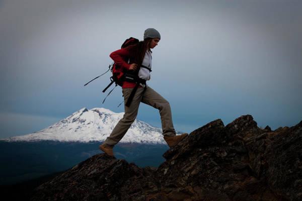Mt. Adams Photograph - A Young Woman Hiking Along Sleeping by Richard Hallman