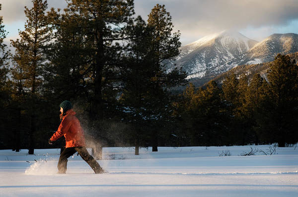 Flagstaff Photograph - A Young Woman Snowshoes Through Freshly by Kyle George