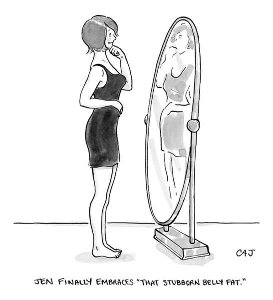Mirror Drawing - A Young Woman Stands Facing A Full-length Mirror by Carolita Johnson