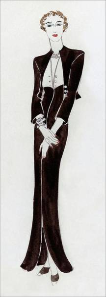 Jewelry Digital Art - A Young Woman Wearing A Black Dress by Rene Bouet-Willaumez