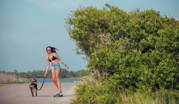 Grayton Beach Photograph - A Young Woman With Her Long Board by Corey Nolen