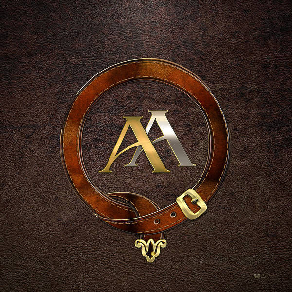Digital Art - Aa Initials - Antique Brass-silver Monogram On Brown Leather by Serge Averbukh