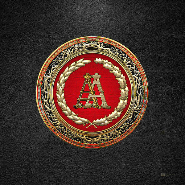 Digital Art - Aa Initials - Gold Antique Monogram On Black Leather by Serge Averbukh