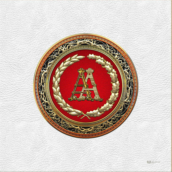 Digital Art - Aa Initials - Gold Antique Monogram On White Leather by Serge Averbukh