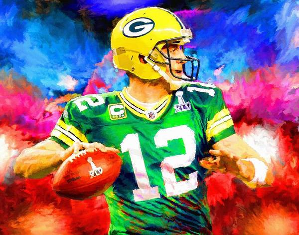 Wall Art - Painting - Aaron Rodgers Green Bay Packers Football Art Painting by Andres Ramos