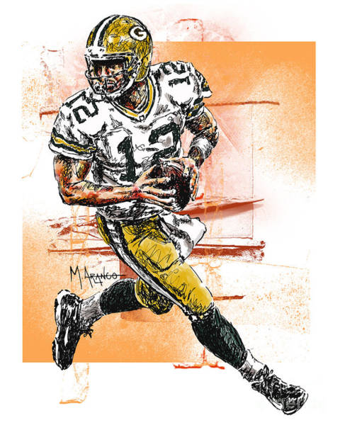Green Bay Packers Wall Art - Drawing - Aaron Rodgers Scrambles by Maria Arango
