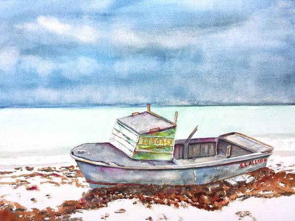 Abandoned Beached Wood Boat Art Print