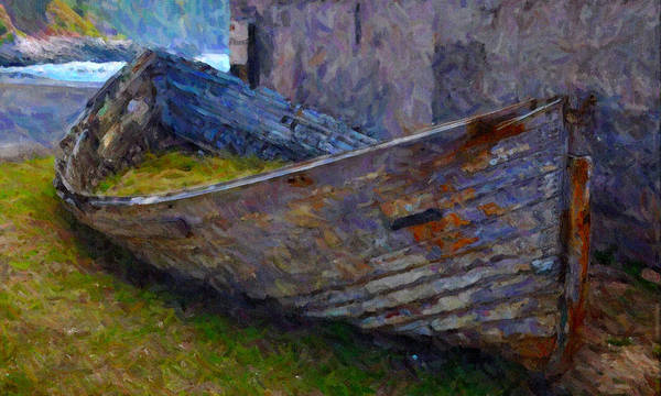 Disintegration Digital Art - Abandoned Boat by Chuck Mountain