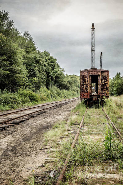 Essex Photograph - Abandoned Burnt Out Train Cars by Edward Fielding