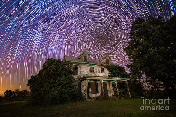 Urbex Wall Art - Photograph - Abandoned Farm House Spiral Star Trails by Michael Ver Sprill