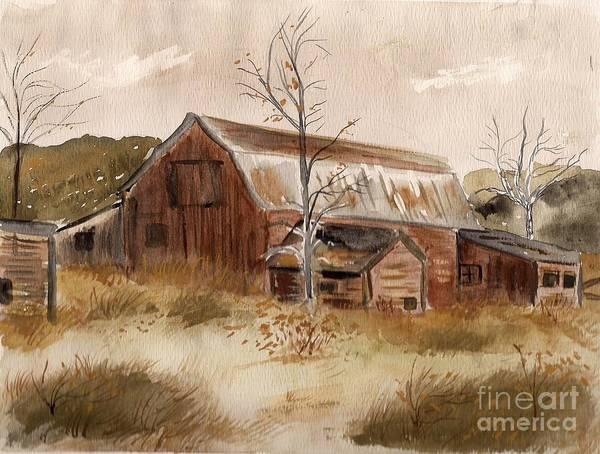Wall Art - Painting - Abandoned Farm by Mary Benson