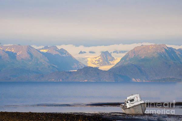 Photograph - Abandoned Fishing Boat On Beach Kachemak Bay by Dan Friend