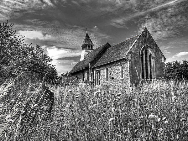 Crumble Photograph - Abandoned Graveyard In Black And White by Gill Billington