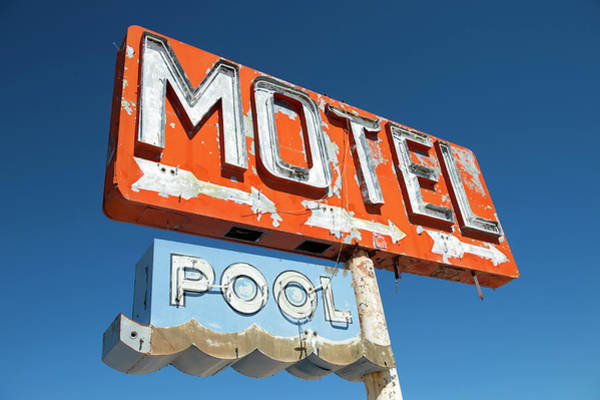 Placard Photograph - Abandoned Motel Sign At Yucca, Mohave by Feifei Cui-paoluzzo