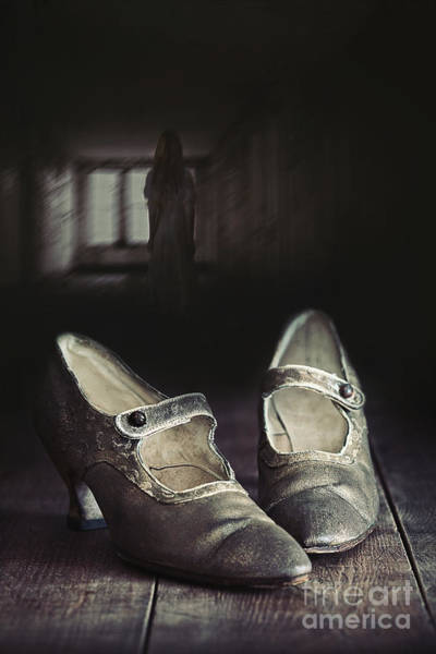 Photograph - Abandoned Pair Of Old Shoes Left On Wooden Floor by Sandra Cunningham