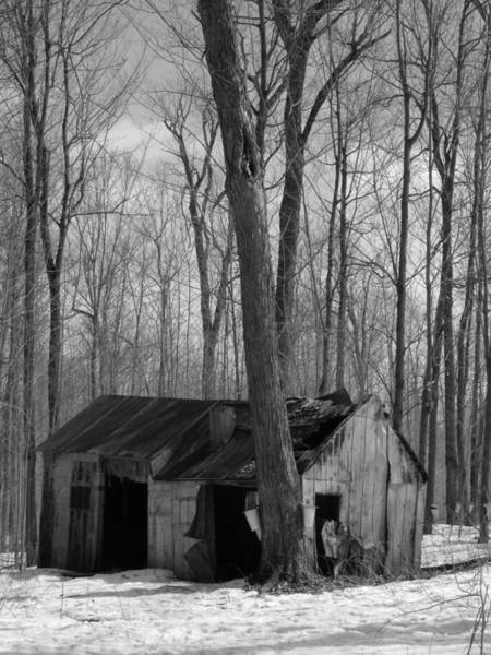 Wall Art - Photograph - Abandoned Sugar Shack In Black And White by Dominic Labbe