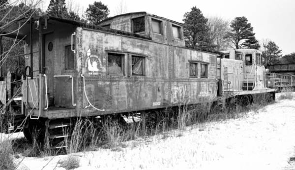 Photograph - Abandoned Trains Bw by Kristia Adams