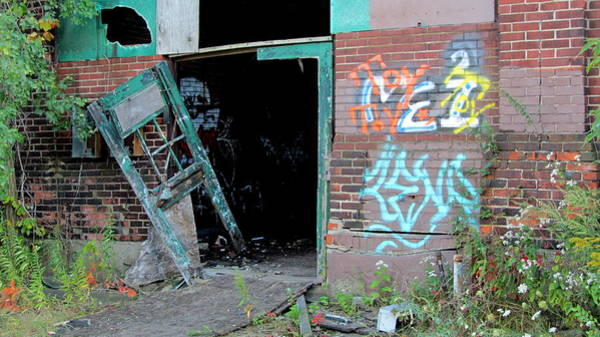 Photograph - Abandoned Warehouse W Blue Door by Anita Burgermeister