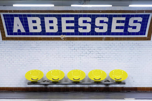 Photograph - Abbesses Metro Sign And Seating, Paris by Peter Adams