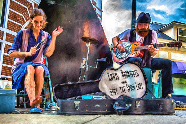 Asheville Mixed Media - Abby The Spoon Lady And Chris Rodrigues by John Haldane