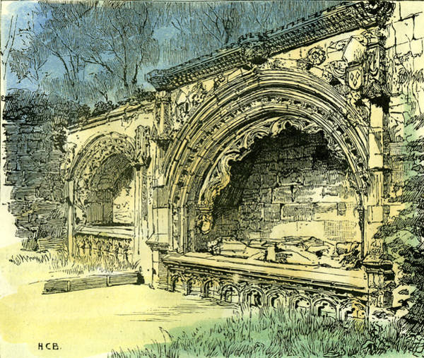 Dunbar Wall Art - Drawing - Aberdeen Bishop Dunbars Tomb In The Old Machar Cathedral by English School