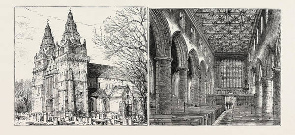 Old Style Drawing - Aberdeen Old Machar Cathedral, Exterior Left Old Machar by English School