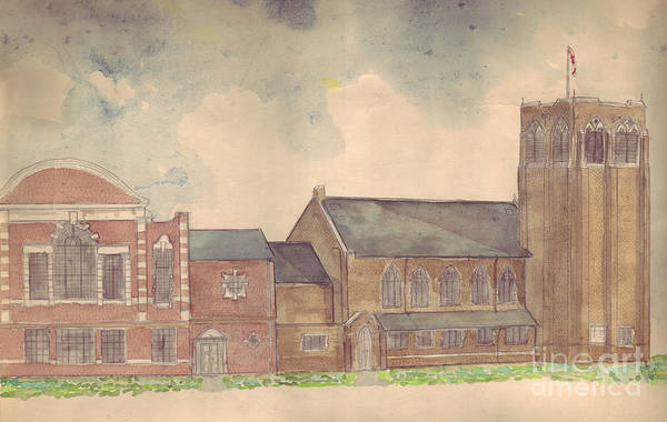 Drawing - Abington Avenue Congregational Church by Russell Kightley