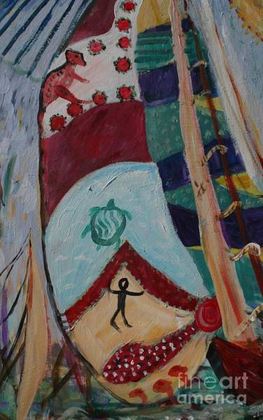 Aborigine Painting - Aborigines Sail by Avonelle Kelsey