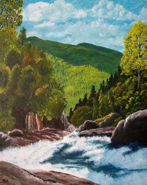 Adirondack Mountains Painting - Above Hanging Spear Falls by Gary Adams