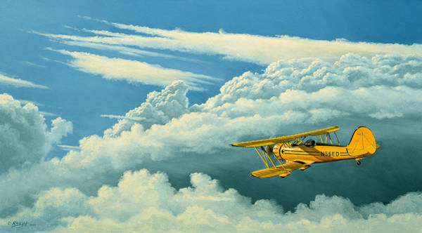 Wall Art - Painting - Above The Clouds-waco Biplane by Paul Krapf