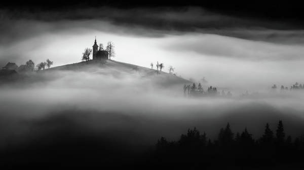 Monochrome Photograph - Above The Mist by Sandi Bertoncelj
