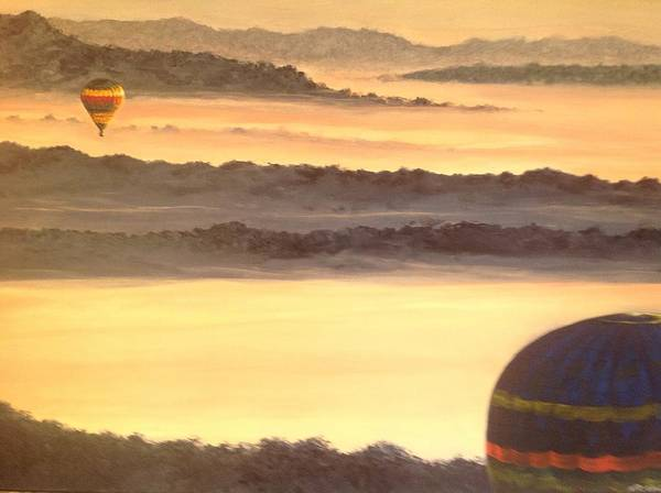 Pink Champagne Painting - Above The Valley by Nigel Necklen