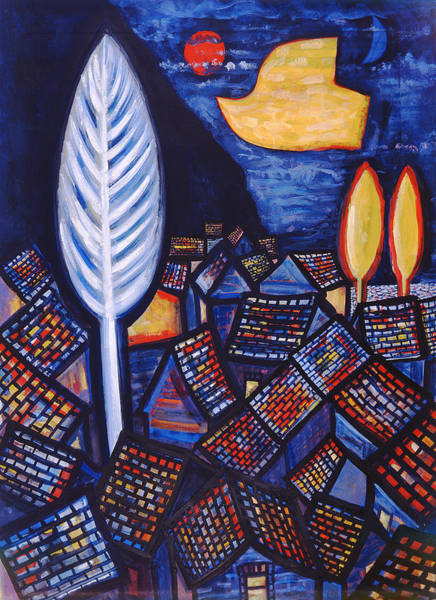 Naive Wall Art - Photograph - Above The Village, 1999 Gouache And Wc On Paper by Peter Davidson