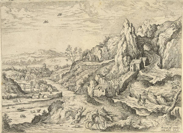 Hiking Drawing - Abraham And Isaac On The Road To The Place Of Sacrifice by Hieronymus Cock And Matthys Cock