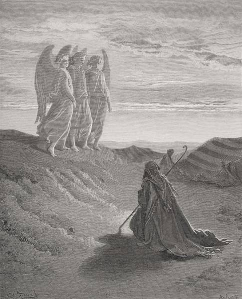 Kneeling Painting - Abraham And The Three Angels by Gustave Dore