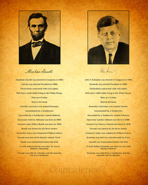 Lincoln Photograph - Abraham Lincoln And John F Kennedy Presidential Similarities And Coincidences Conspiracy Theory Fun by Design Turnpike