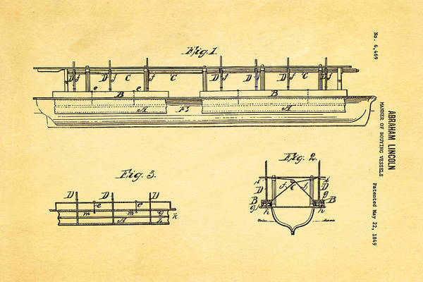 Household Photograph - Abraham Lincoln Buoyancy Patent Art 1849 by Ian Monk