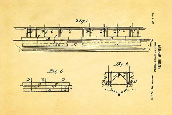 Wall Art - Photograph - Abraham Lincoln Buoyancy Patent Art 1849 by Ian Monk