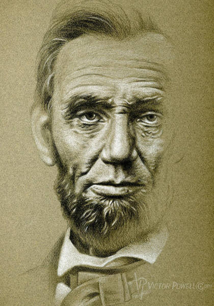 Abe Lincoln Drawing - Abraham Lincoln Pencil Portrait by Victor Powell