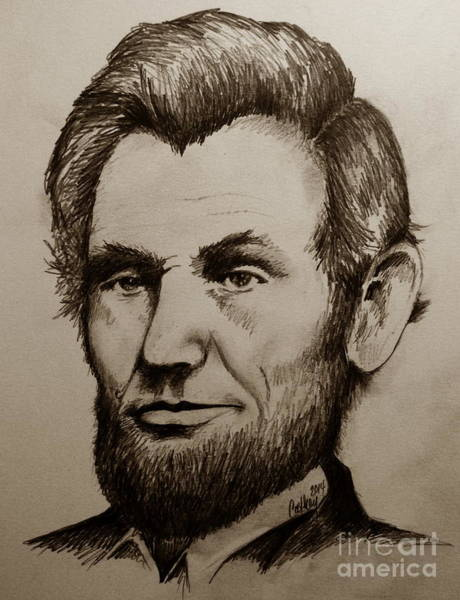 Abe Lincoln Drawing - Abraham Lincoln Sepia Tone by Catherine Howley