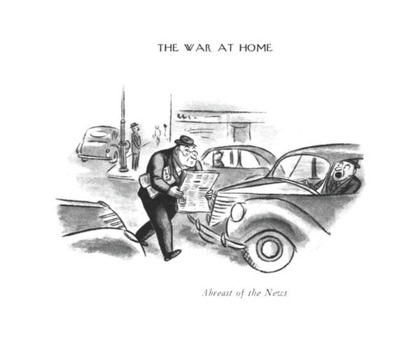 Chairman Of The Board Drawing - Abreast Of The News by William Steig