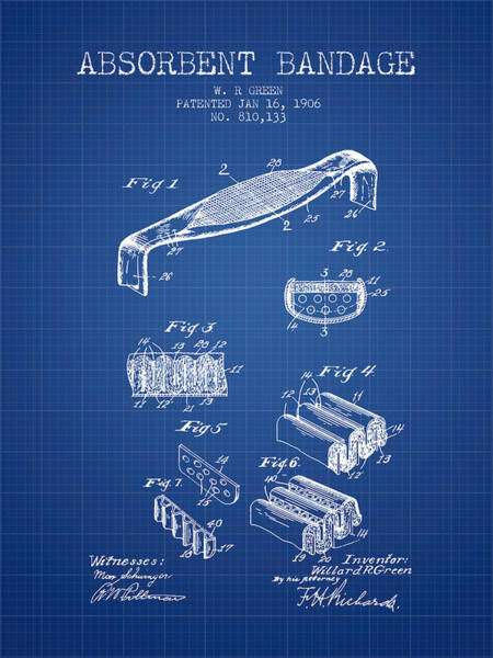 Bandage Wall Art - Digital Art - Absorbent Bandage Patent From 1906 - Blueprint by Aged Pixel