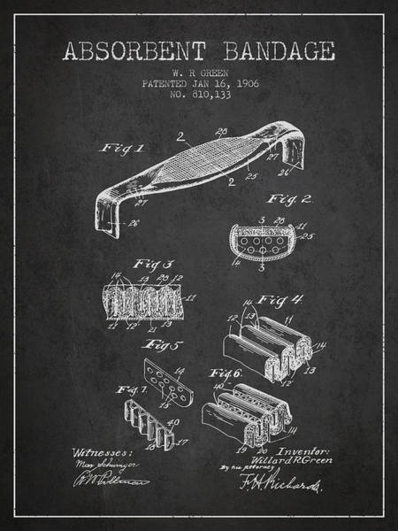 Bandage Wall Art - Digital Art - Absorbent Bandage Patent From 1906 - Charcoal by Aged Pixel