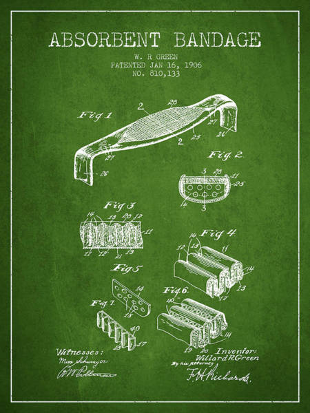 Bandage Wall Art - Digital Art - Absorbent Bandage Patent From 1906 - Green by Aged Pixel