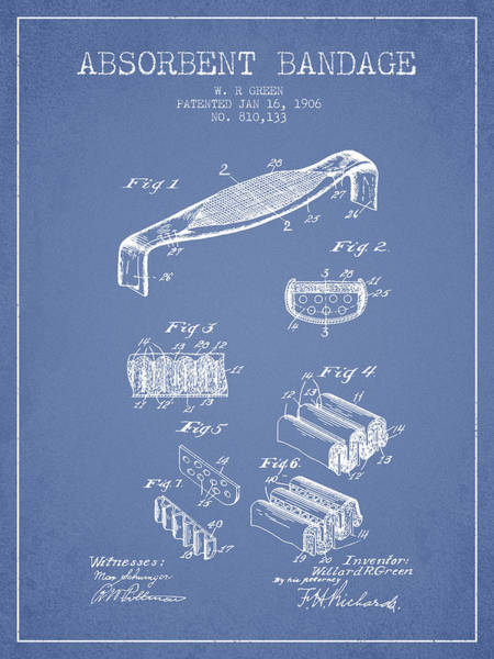 Bandage Wall Art - Digital Art - Absorbent Bandage Patent From 1906 - Light Blue by Aged Pixel
