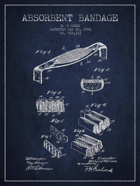 Bandage Wall Art - Digital Art - Absorbent Bandage Patent From 1906 - Navy Blue by Aged Pixel
