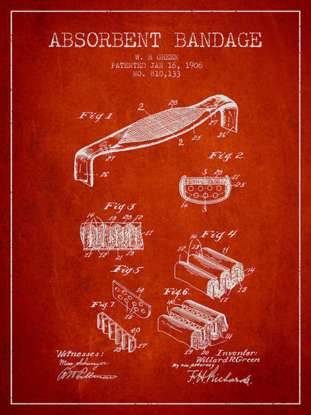 Bandage Wall Art - Digital Art - Absorbent Bandage Patent From 1906 - Red by Aged Pixel