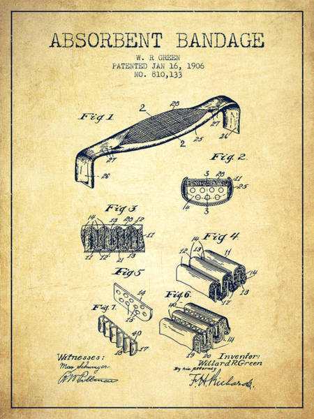 Bandage Wall Art - Digital Art - Absorbent Bandage Patent From 1906 - Vintage by Aged Pixel